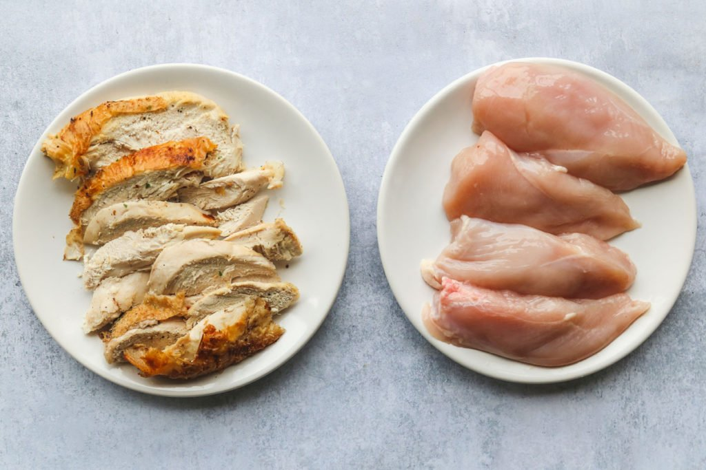 A plate with rotisserie chicken and a plate with raw sliced chicken breast