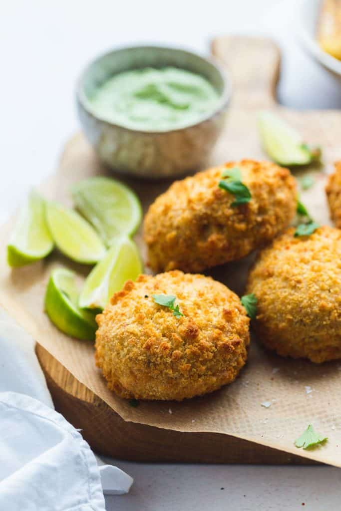 Fishcakes on a wooden board
