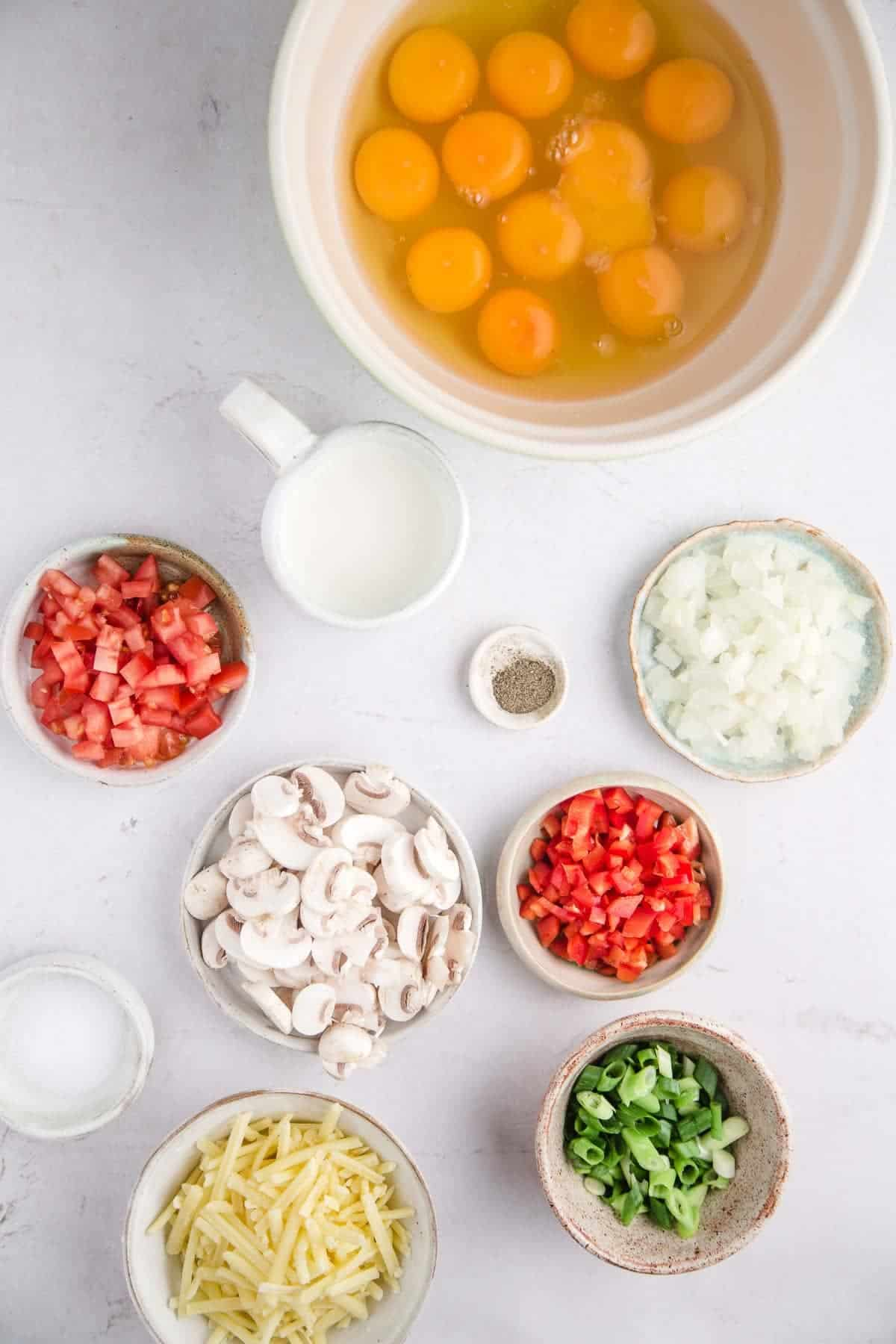 Ingredients for sheet pan eggs