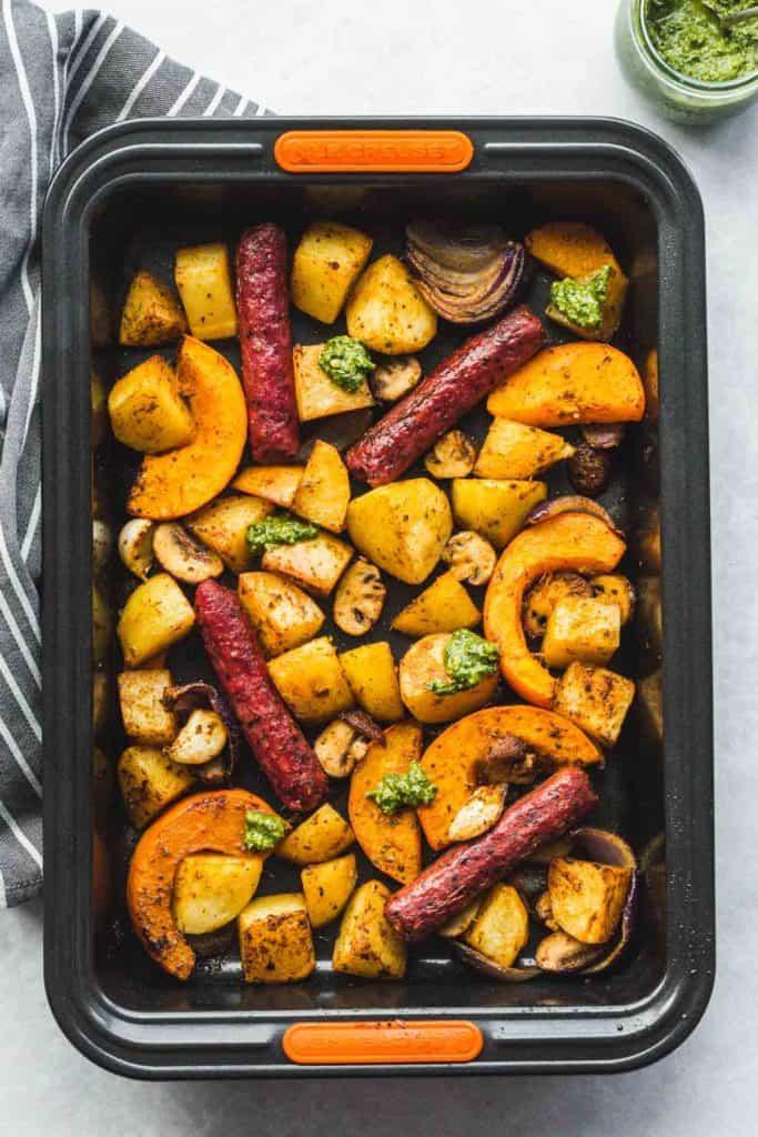 Sheet Pan Sausage and Veggies ready in a roasting tin