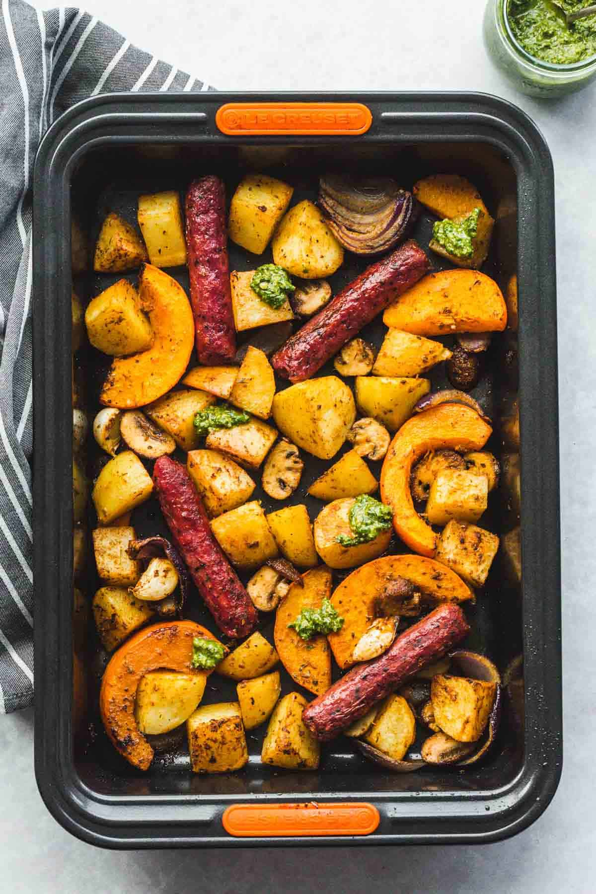 Sheet Pan Sausage and Veggies ready in a roasting tin