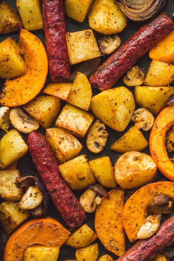 A flaylay image of Sheet Pan Sausage and Veggies