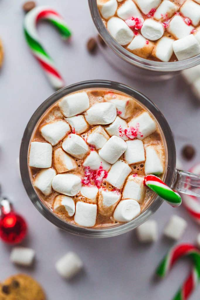 A top view of the hot chocolate with melted marshmallows