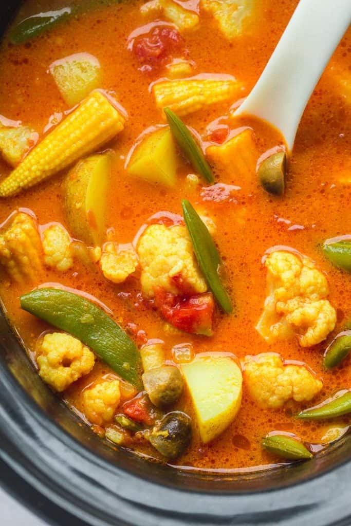 A close up shot of the curry in the slow cooker