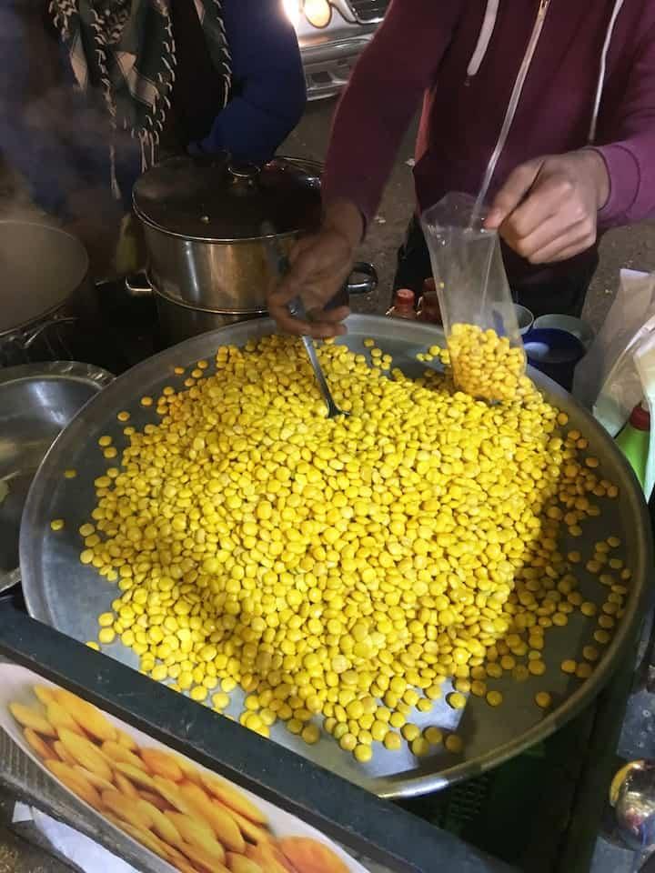 Street vendor in Madaba Jordan selling cooked lupini beans