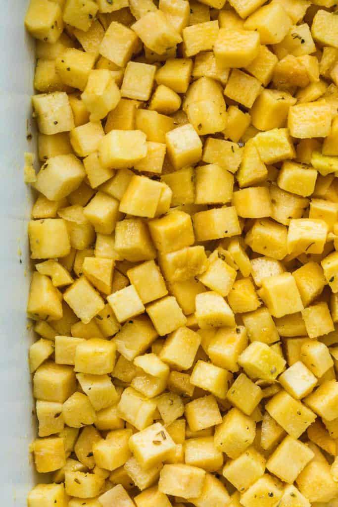 Cubed and seasoned swede before roasting