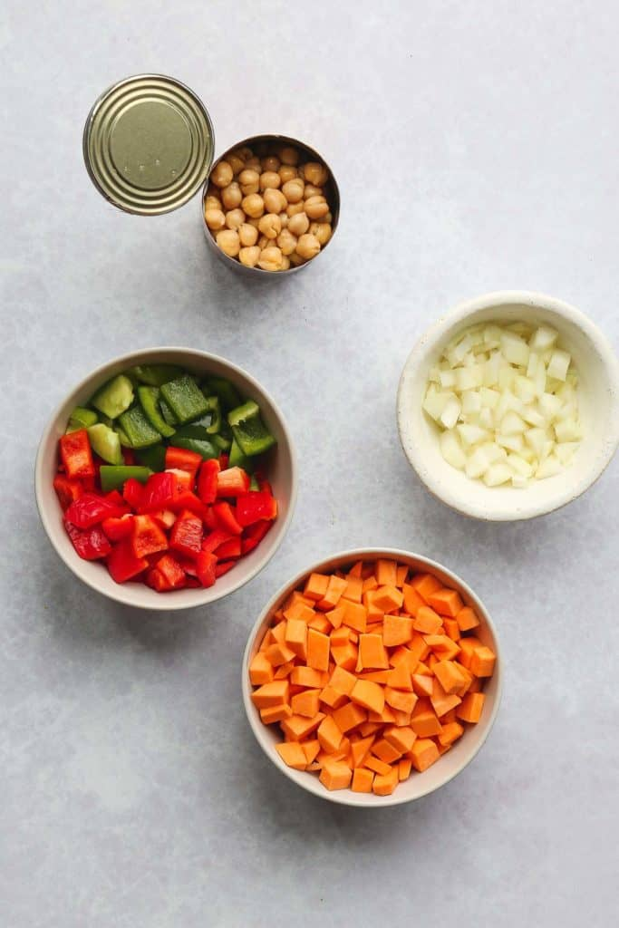 Sweet potato hash ingredients prepped