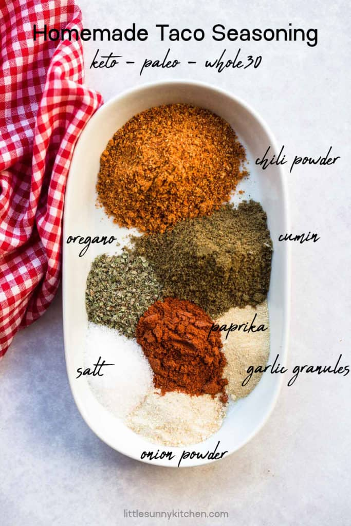 homemade taco seasoning ingredients measured out in small white bowl