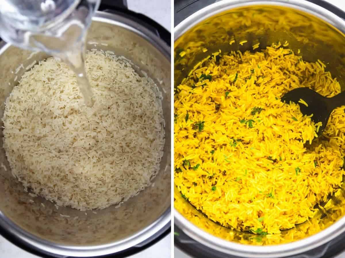 A collage with 2 images on how to make turmeric rice in the Instant Pot