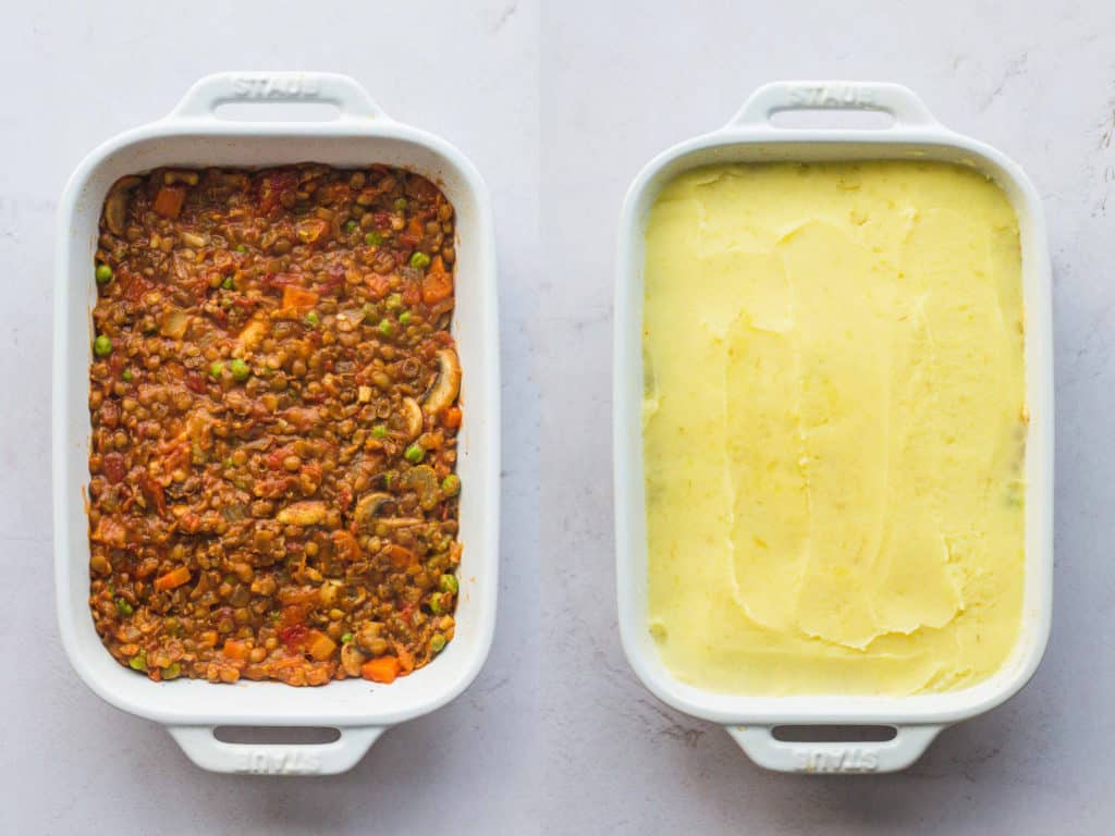 Steps of making shepherd's pie