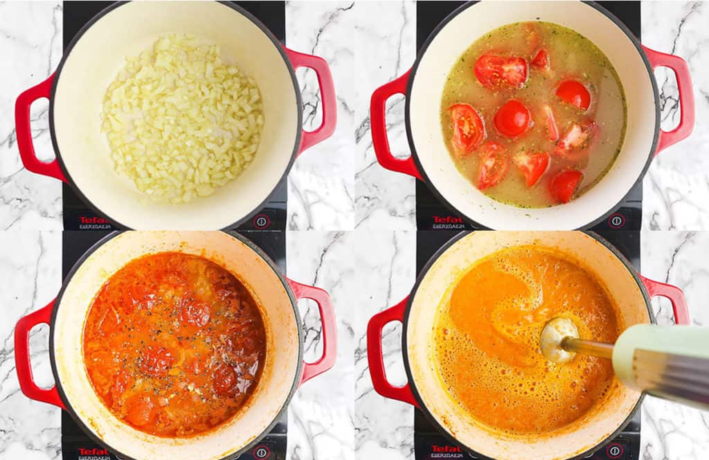 Step by step how to make tomato soup, 4 steps in total in a collage