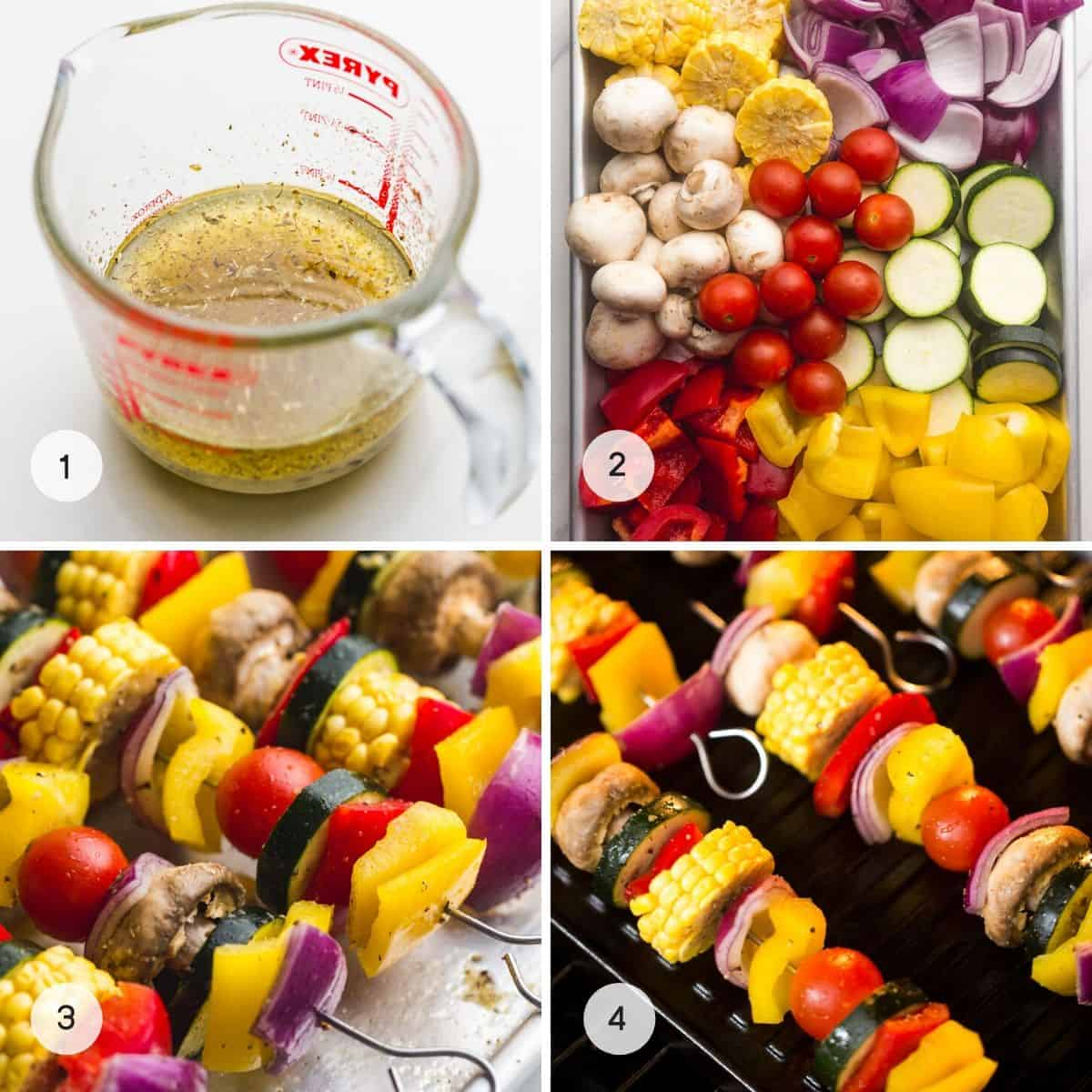 Steps on how to make veggie kabobs