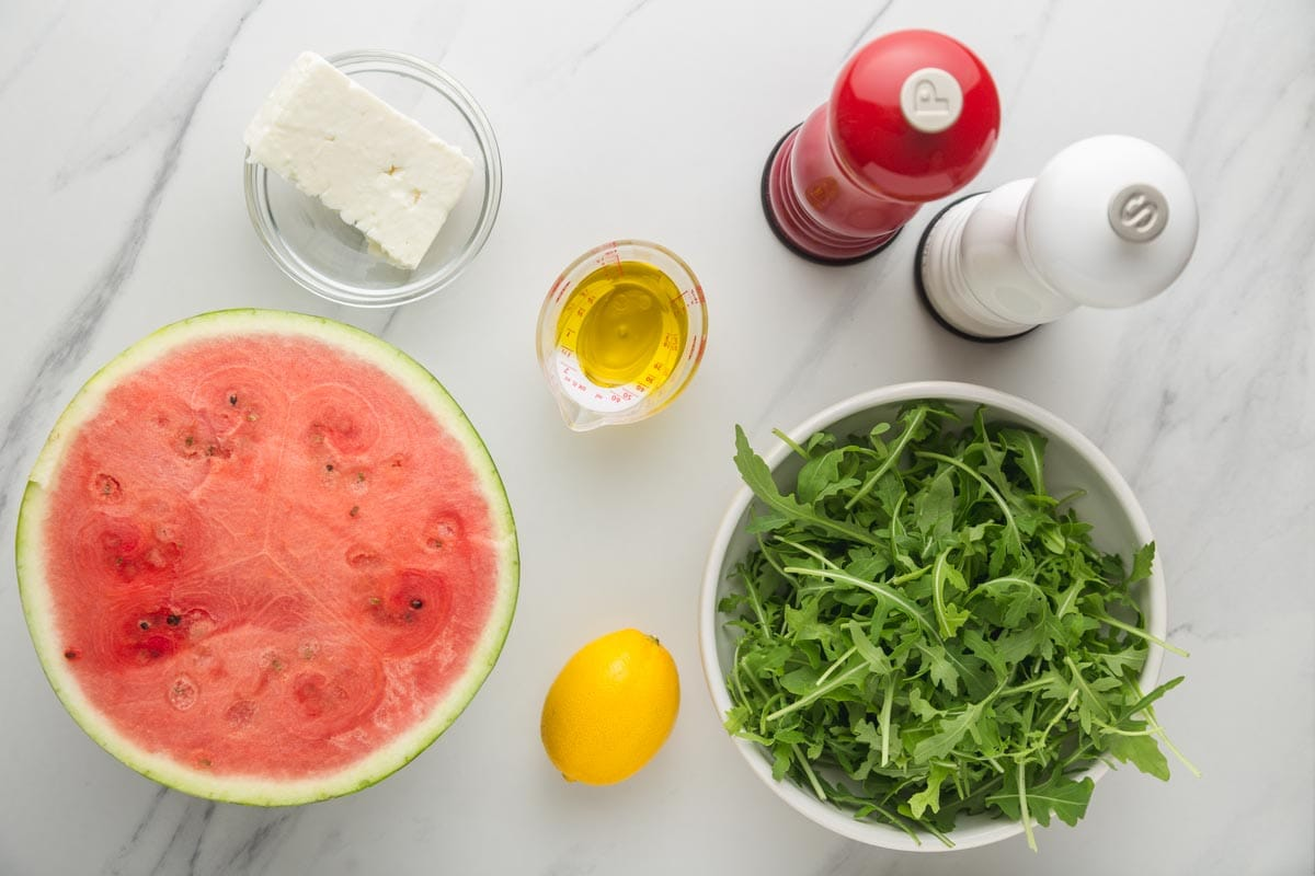 Ingredients needed to make watermelon salad