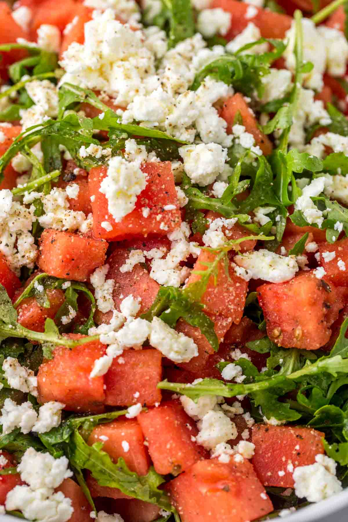 Close up shot of the salad
