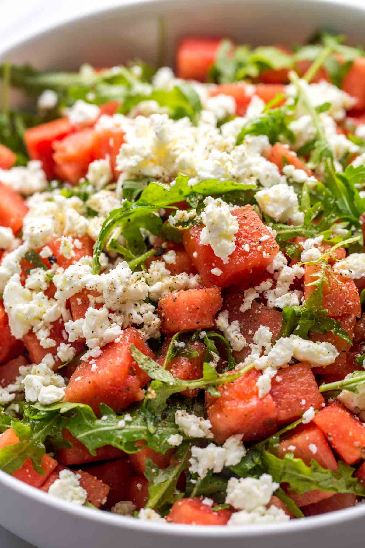 Close up shot of the watermelon salad with crumbled feta
