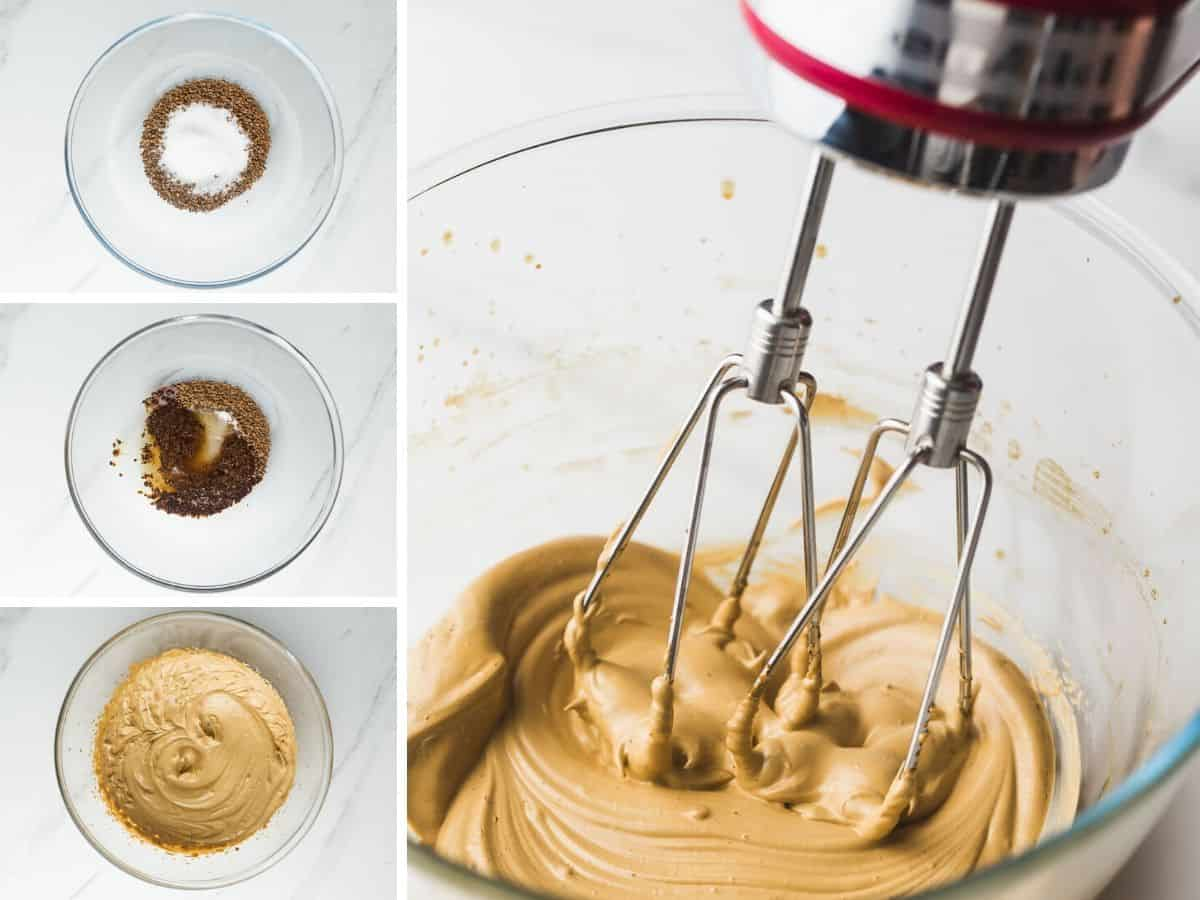 Steps how to make whipped coffee using an electric mixer