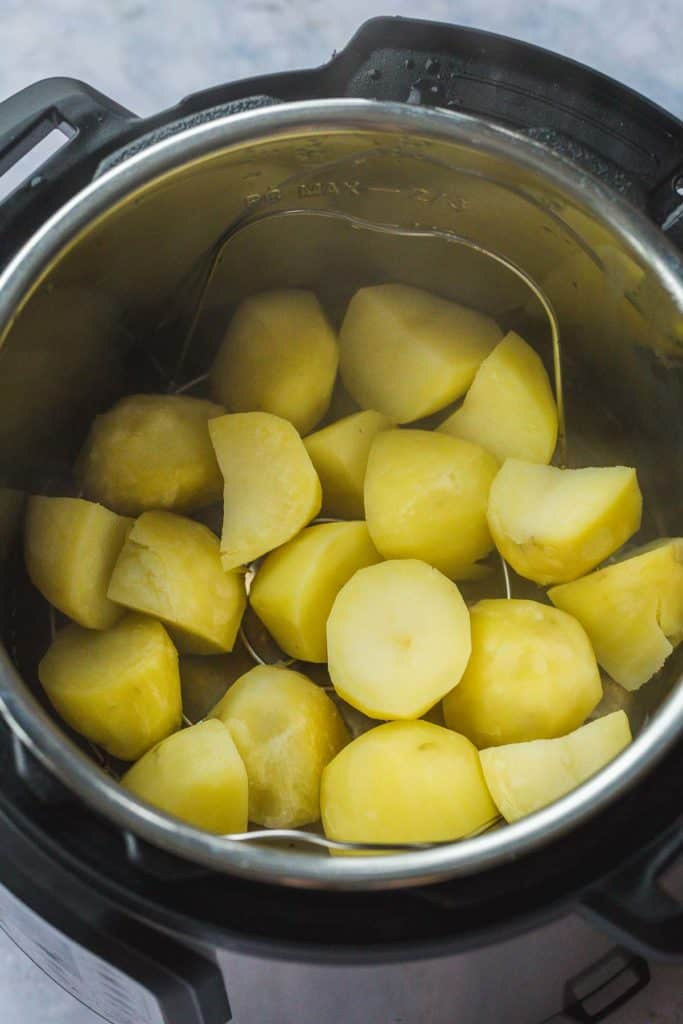 Cooked steamed potatoes in the Instant Pot