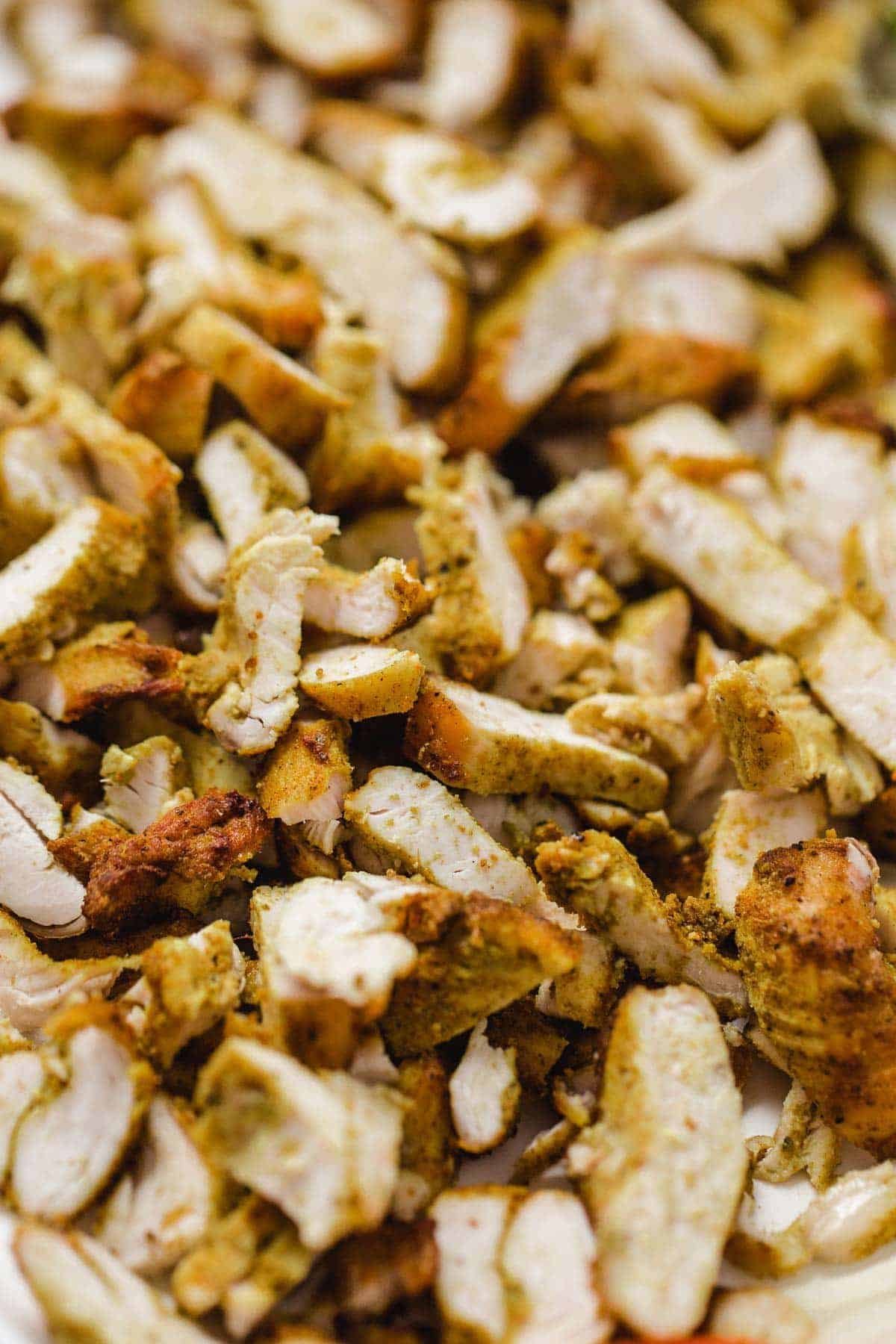 A close up shot of chicken shawarma