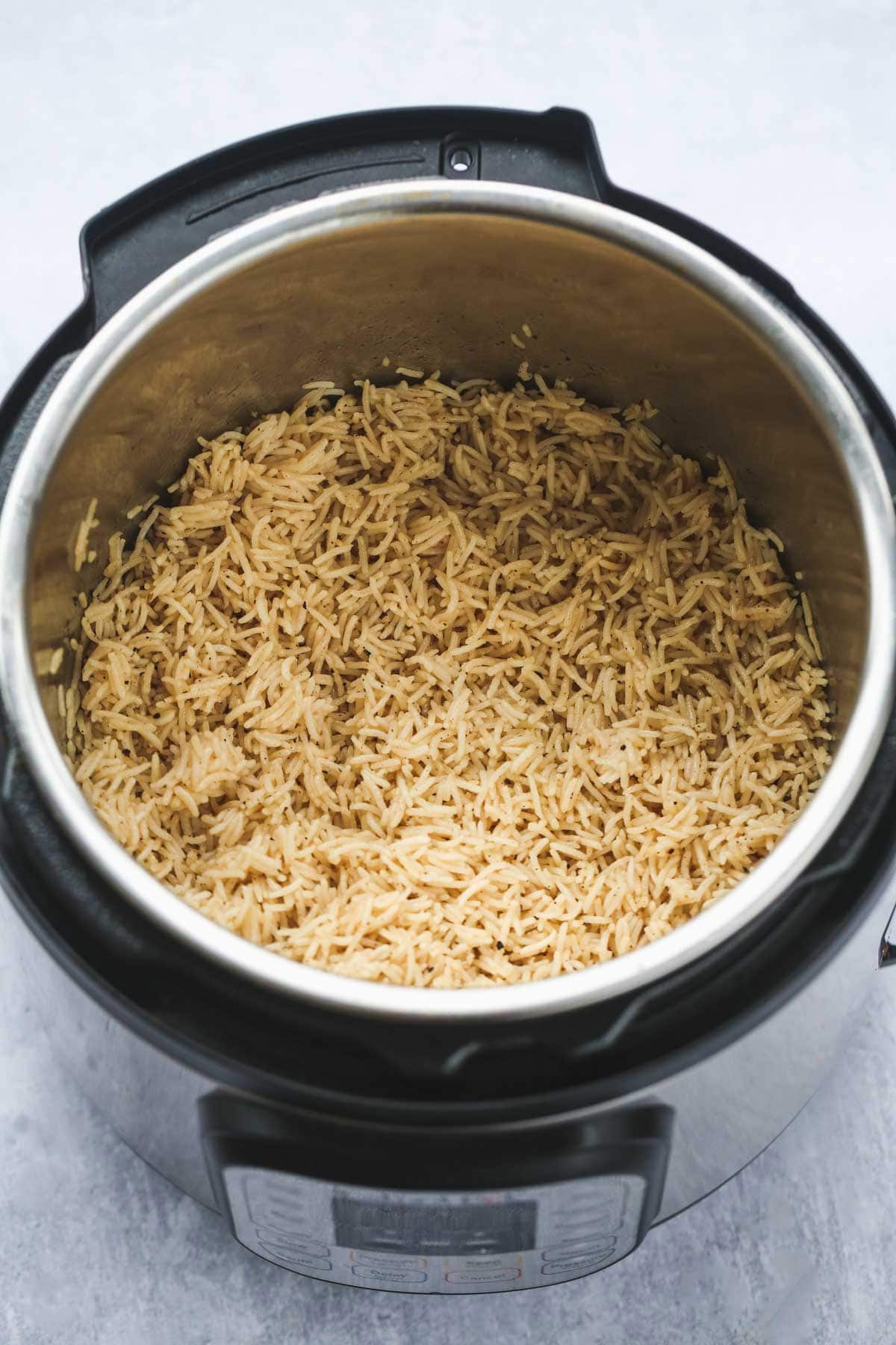 fluffed rice inside the instant pot