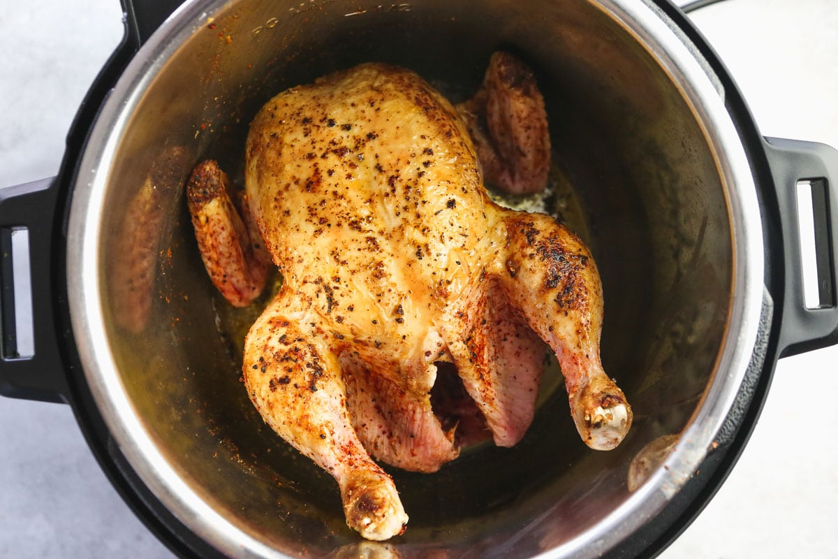 browned raw whole chicken in the instant pot